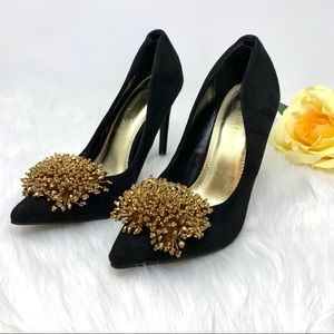 Liliana Suede Pumps Black and Gold Beads Size 6